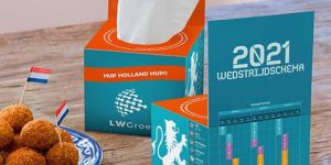 Tissue box met EK-wedstrijdschema
