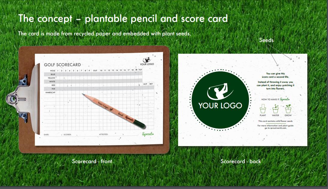 plantbaar potlood en scorekaart